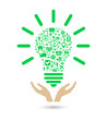 hand support lightbulb social media green