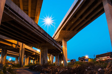 elevated express way with evening sky background.