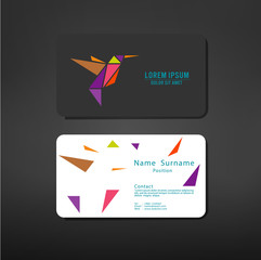 business cards creative template with Humming bird symbol