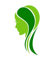 Woman natural leafs and fashion care logo vector