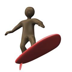 Männchen steht auf Surfbrett
