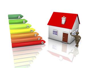 Männchen mit Eigenheim und Energieverbrauchskennzeichnung