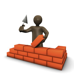 3D Rendering, Männchen auf Baustelle baut Mauer