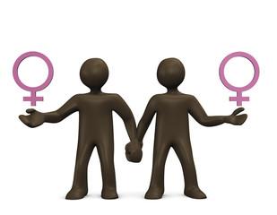 Lesbisches Paar, Comicfigur, Symbol, 3d illustration