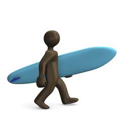 Surfer mit Surfbrett, Comicfigur, 3D Illustration