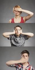 Porträt Teenager Junge: Hält sich Ohren zu