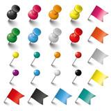 Colored Pins Flags and Tacks Set