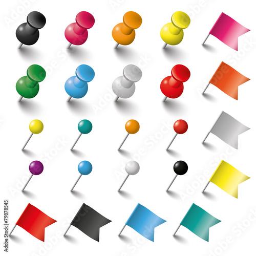 Fototapeta Colored Pins Flags and Tacks Set
