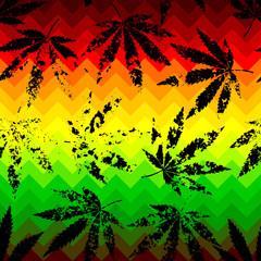 Rastafarian chevron pattern and grunge hemp leaves.