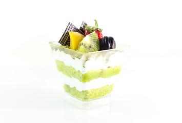 Matcha green tea cake isolated on white