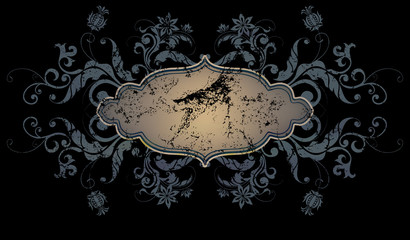 Decorative vintage background with frame and floral patterns.