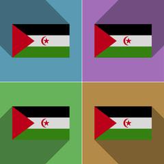 Flags Western Sahara. Set of colors flat design and