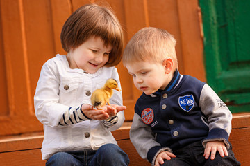 Brother and sister looking at duckling