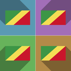 Flags Congo Republic. Set of colors flat design an