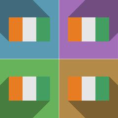 Flags Cote dlvoire. Set of colors flat design and lon