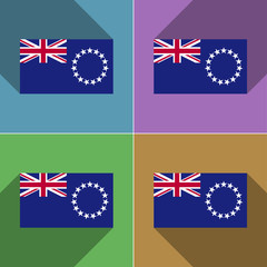 Flags Cook islands. Set of colors flat design and lo
