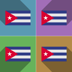 Flags Cuba. Set of colors flat design and long shad