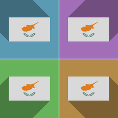 Flags Cyprus. Set of colors flat design and long sh
