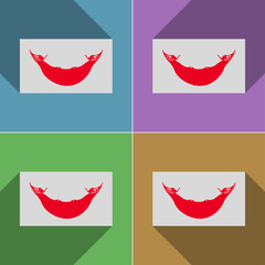Flags Eaaster Rapa Nui. Set of colors flat design a