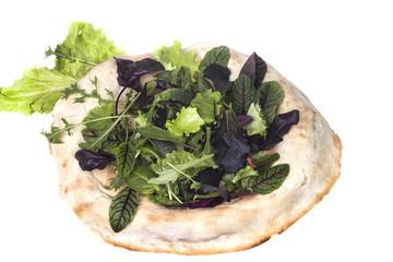 fresh lettuce on freshly baked pita bread