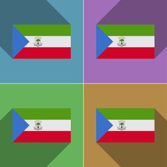 Flags Equatorial Guinea. Set of colors flat design