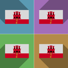 Flags Gibraltar. Set of colors flat design and long s