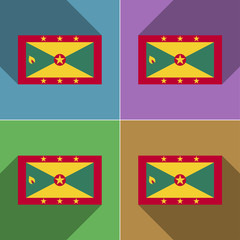 Flags Grenada. Set of colors flat design and long s
