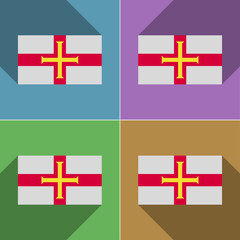 Flags Guernsey. Set of colors flat design and long