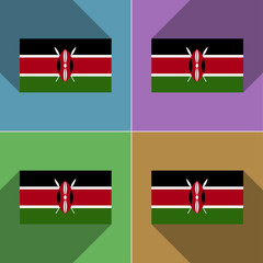 Flags Kenya. Set of colors flat design and long sha