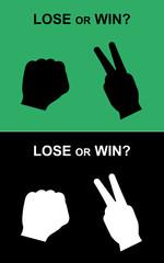 win or lose rock-scissors hand, rock-scissors hand vector