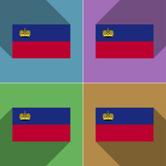 Flags Liechtenstein. Set of colors flat design and lo