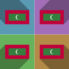 Flags Maldives. Set of colors flat design and long shadows