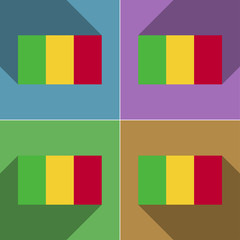 Flags Mali. Set of colors flat design and long shadow