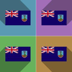 Flags Montserrat. Set of colors flat design and long