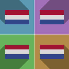 Flags Netherlands. Set of colors flat design and lon