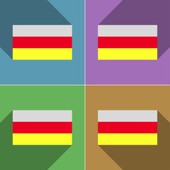 Flags North Ossetia. Set of colors flat design and lo