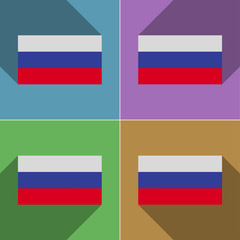 Flags Russia. Set of colors flat design and long sha