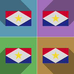 Flags Saba. Set of colors flat design and long shad
