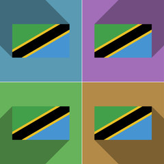 Flags Tanzania. Set of colors flat design and long s