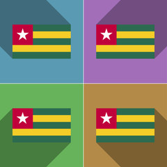 Flags Togo. Set of colors flat design and long shado