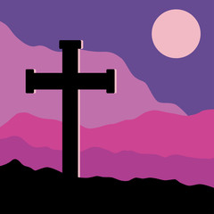 Crucifix and Moon