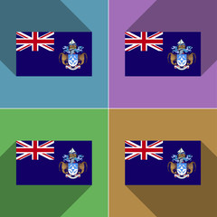 Flags Tristan da Cunha. Set of colors flat design an