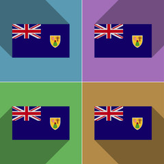 Flags Turks and Caicos. Set of colors flat design lon
