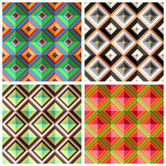 Collection plaid colorful seamless patterns