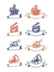 Cinema emblems. Vector illustration.