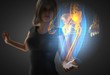 woman and hologram with hip radiography