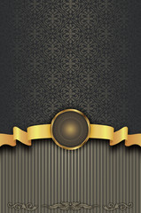 Vintage background with gold ribbon,frame and decorative pattern