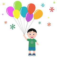Boy with balloons