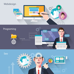 Flat characters of web development concept illustrations