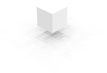 floating white cube with pixel shadow over white